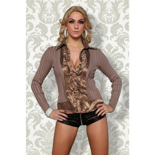 PRECIOUS BLOUSE-SWEATER WITH STRIPED PATTERN SATIN CAPPUCCINO