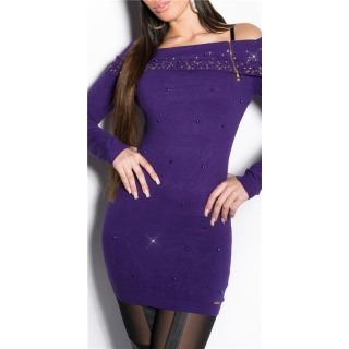 PRECIOUS FINE KNITTED LONG SWEATER WITH RHINESTONES PURPLE