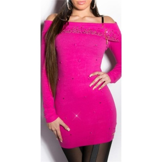 PRECIOUS FINE KNITTED LONG SWEATER WITH RHINESTONES FUCHSIA