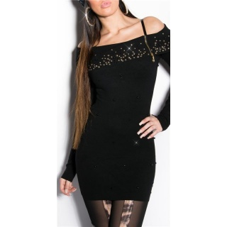 PRECIOUS FINE-KNITTED LONG SWEATER WITH RHINESTONES BLACK
