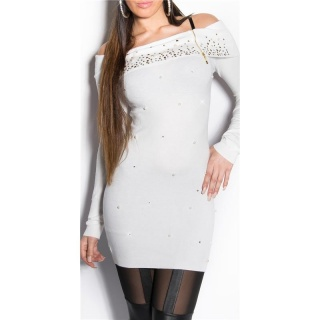 PRECIOUS FINE-KNITTED LONG SWEATER WITH RHINESTONES WHITE