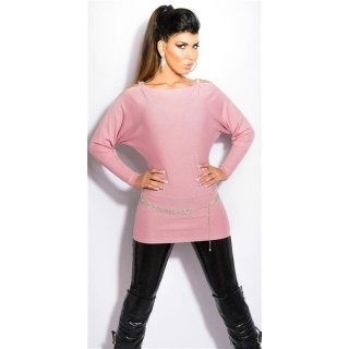 ELEGANT FINE-KNITTED CARMEN SWEATER LONG SWEATER ANTIQUE PINK