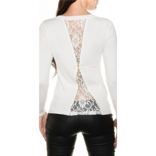 NOBLE FINE-KNITTED LADIES SWEATER WITH FINE LACE WHITE