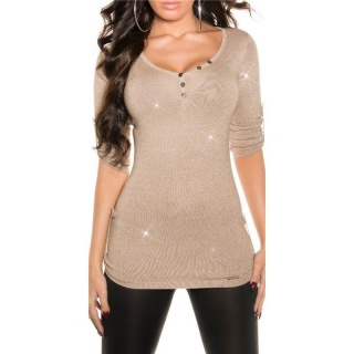 NOBLE LADIES SWEATER WITH GLITTER AND GATHERED SLEEVES BEIGE