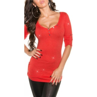 NOBLE LADIES SWEATER WITH GLITTER AND GATHERED SLEEVES CORAL