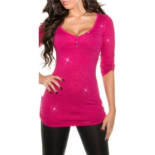 NOBLE LADIES SWEATER WITH GLITTER AND GATHERED SLEEVES FUCHSIA