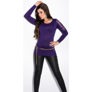 NOBLE FINE-KNITTED GLITTER SWEATER WITH LACE AND RHINESTONES PURPLE