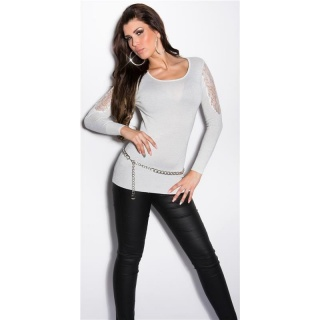 NOBLE FINE-KNITTED GLITTER SWEATER WITH LACE AND RHINESTONES WHITE