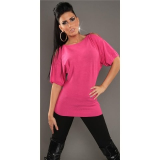 NOBLE FINE-KNITTED LONG SWEATER WITH HALF-LENGTH SLEEVES FUCHSIA