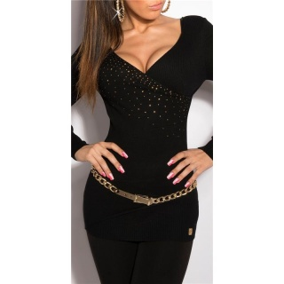 PRECIOUS FINE-KNITTED SWEATER WITH RHINESTONES BLACK