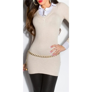 DIVINE FINE-KNITTED LONG SWEATER JUMPER WITH BLOUSE INSET BEIGE