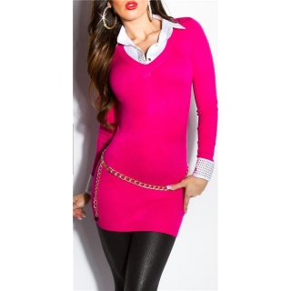 DIVINE FINE-KNITTED LONG SWEATER JUMPER WITH BLOUSE INSET FUCHSIA