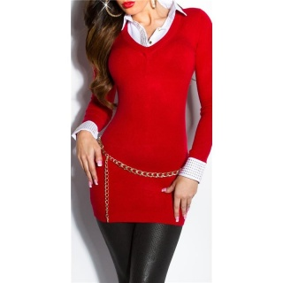 DIVINE FINE-KNITTED LONG SWEATER JUMPER WITH BLOUSE INSET RED