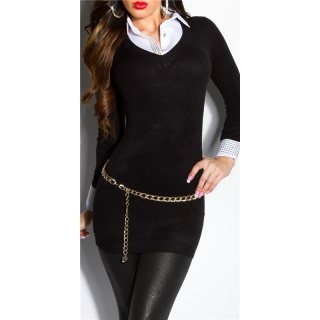 DIVINE FINE-KNITTED LONG SWEATER JUMPER WITH BLOUSE INSET BLACK
