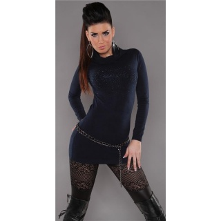 SEXY FINE-KNITTED POLO-NECK LONG SWEATER WITH RHINESTONES NAVY