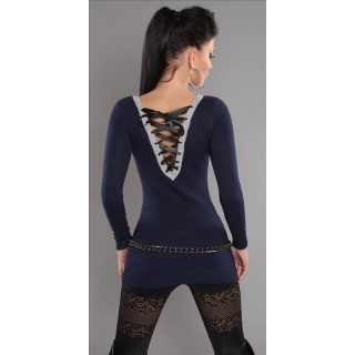 ELEGANT FINE-KNITTED SWEATER LONG SWEATER WITH LACING GLITTER NAVY