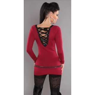 ELEGANT FINE-KNITTED SWEATER LONG SWEATER WITH LACING GLITTER RED