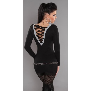 ELEGANT FINE-KNITTED SWEATER LONG SWEATER WITH LACING GLITTER BLACK