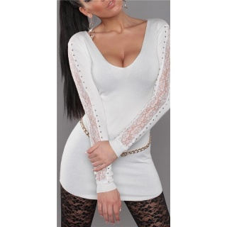 ELEGANT FINE-KNITTED SWEATER LONG SWEATER WITH LACE WHITE