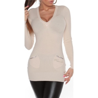 PRECIOUS FINE-KNITTED LONG SWEATER JUMPER WITH RHINESTONES BEIGE