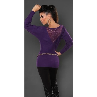 NOBLE FINE-KNITTED SWEATER WITH LACE AND RIVETS PURPLE