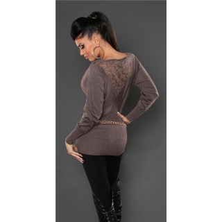 NOBLE FINE-KNITTED SWEATER WITH LACE AND RIVETS TAUPE
