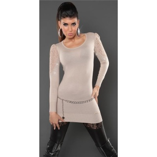NOBLE FINE-KNITTED SWEATER WITH LACE AND RHINESTONES BEIGE