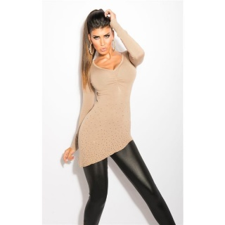 PRECIOUS FINE-KNITTED SWEATER WITH RHINESTONES AND RIVETS BEIGE