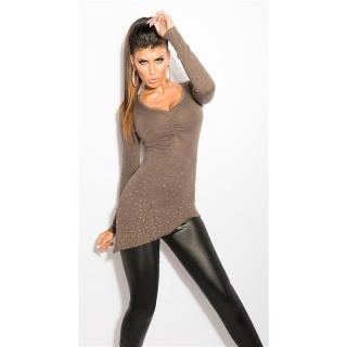 PRECIOUS FINE-KNITTED SWEATER WITH RHINESTONES AND RIVETS CAPPUCCINO