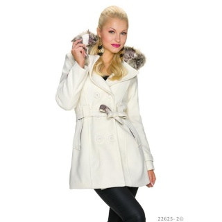 PRECIOUS SHORT TRENCH COAT WITH HOOD AND FAKE FUR CREAM