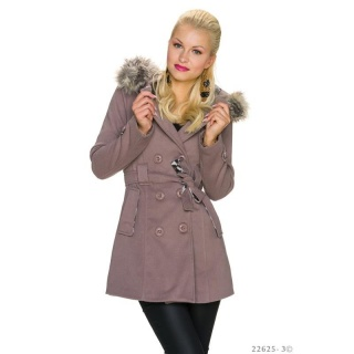 PRECIOUS SHORT TRENCH COAT WITH HOOD AND FAKE FUR TAUPE