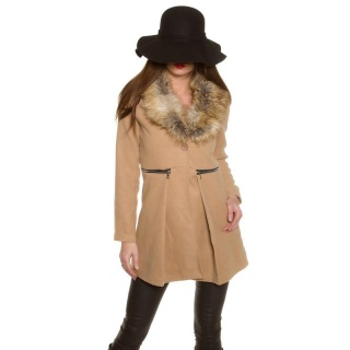 NOBLE SHORT COAT IN A-LINE WITH FAKE FUR COLLAR BEIGE