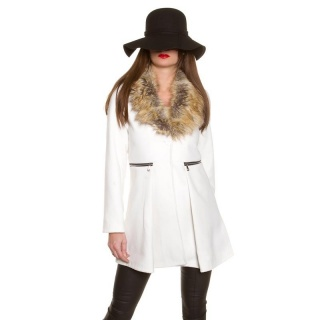NOBLE SHORT COAT IN A-LINE WITH FAKE FUR COLLAR CREAM