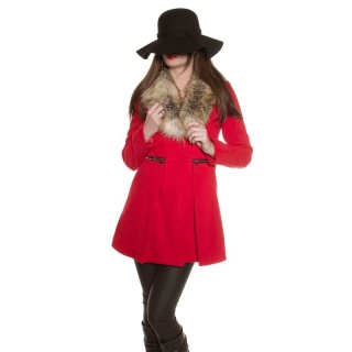 NOBLE SHORT COAT IN A-LINE WITH FAKE FUR COLLAR RED