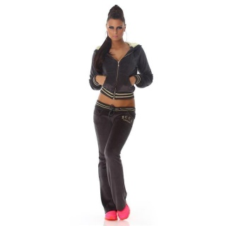NOBLE NIKKI LEISURE SUIT JOGGING SUIT TRACKSUIT WITH HOOD DARK GREY