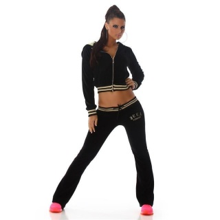 NOBLE NIKKI LEISURE SUIT JOGGING SUIT TRACKSUIT WITH HOOD BLACK