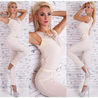 NOBLE OVERALL JUMPSUIT INCL. RHINESTONE NECKLACE AND BELT BEIGE