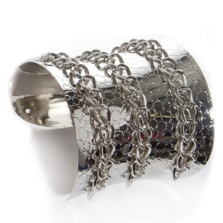 NOBLE PARTY ARMLET BRACELET WITH CHAIN DECORATION SILVER