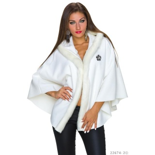 NOBLE PONCHO CAPE WRAP WITH FAKE FUR AND HOOD CREAM
