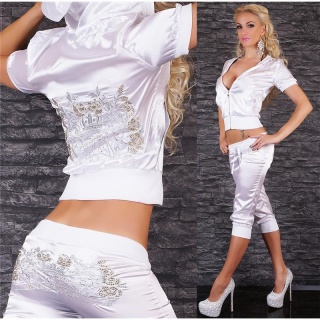 SEXY REDIAL SATIN JOGGING SUIT TRACKSUIT WITH EMBROIDERIES WHITE