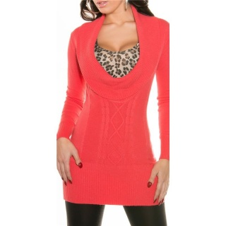 PRECIOUS CABLE-KNIT LONG SWEATER PULLOVER WITH XXL-COLLAR CORAL