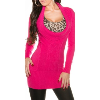 PRECIOUS CABLE-KNIT LONG SWEATER PULLOVER WITH XXL-COLLAR FUCHSIA