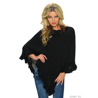 NOBLE ASYMMETRIC KNITTED PONCHO CAPE WRAP WITH GLITTER BLACK
