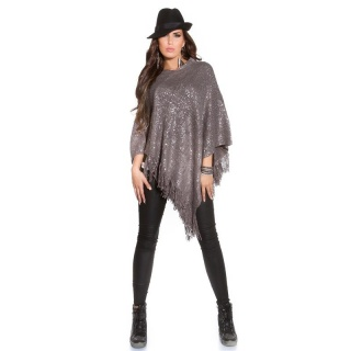 NOBLE ASYMMETRIC KNITTED PONCHO CAPE WRAP WITH PRINT GREY