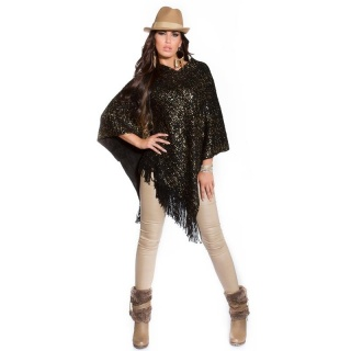 NOBLE ASYMMETRIC KNITTED PONCHO CAPE WRAP WITH PRINT BLACK