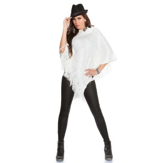 NOBLE ASYMMETRIC KNITTED PONCHO CAPE WRAP WITH PRINT WHITE