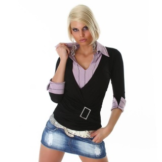 PRECIOUS TWO-IN-ONE SWEATER BLACK/LILAC