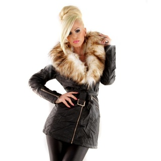 NOBLE WINTER COAT JACKET IN LEATHER LOOK WITH FAKE FUR BLACK