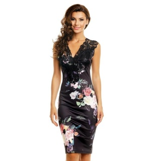 NOBLE EVENING DRESS IN ASIA-LOOK WITH LACE AND FLOWERS BLACK