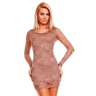 ELEGANT EVENING DRESS MINIDRESS MADE OF LACE BROWN